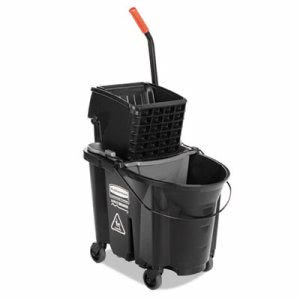 Rubbermaid Executive WaveBrake 35 Quart Mop Bucket & Ringer, Black (RCP 1863896)