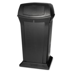 Rubbermaid Commercial Ranger Fire-Safe Container, Square W/2 Doors, Structural Foam, 65 gal, Black (RCP9175BLA)
