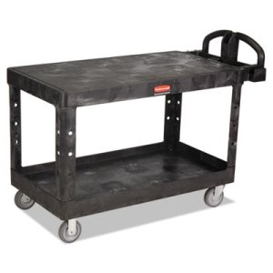 Rubbermaid 4545 Heavy Duty 2-Shelf Utility Cart, Large, Black (RCP4545BLA)