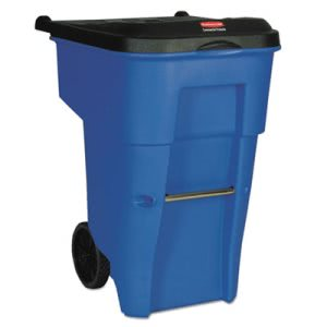 Rubbermaid Commercial Brute Rollout Container, Square, Plastic, 65 gal, Blue (RCP9W2173BLU)