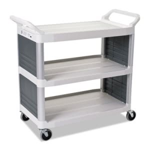 Rubbermaid 4092 Xtra Utility Cart, 300-lb Cap, 2-Shelves, Off-White (RCP4092CRE)