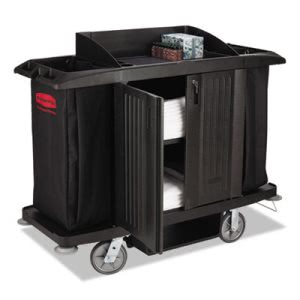 Rubbermaid Full Size Housekeeping Cart with Doors, Black (RCP6191BLA)