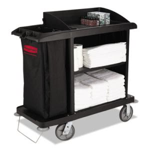 Rubbermaid Commercial Multi-Shelf Cleaning Cart, Three-Shelf, 22w x 49d x 50h, Black (RCP6190BLA)