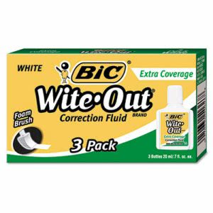 Bic Wite-Out Extra Coverage Correction Fluid, 3 Bottles (BICWOFEC324)