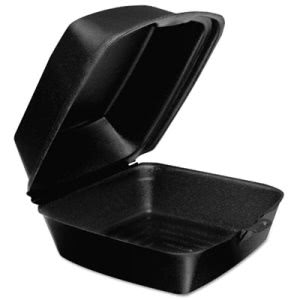 Dart Foam Hinged Lid Containers, Black, 500 Containers (DCC60HTB1)