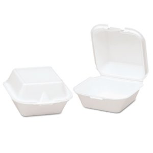 Genpak Snap-It Foam Hinged Sandwich Container, White, 500 Containers (GNPSN225)