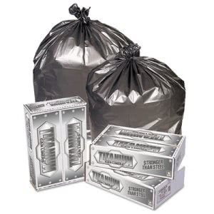 33 Gallon Silver Garbage Bags, 33x40, 1.5mil, 100 Bags (PITTI3340S)