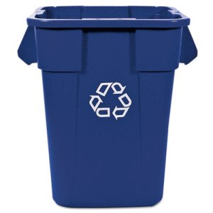 Rubbermaid 353673 Brute Recycling Container, Square, 40 gal, Blue (RCP353673BLU)