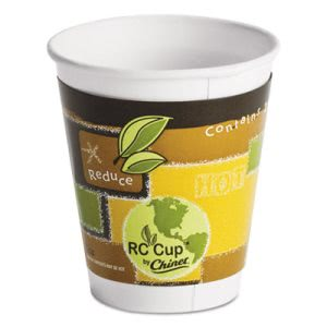 Chinet Insulated 12-oz Paper Hot Cups, Green/Brown, 645 Cups (HUH63007)