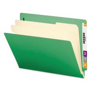 Smead End Tab Classification Folders, 6 Section, Green, 10 per Box (SMD26837)