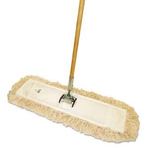 "Boardwalk Cut-End Dust Mop Kit, 24 x 5, 60"" Wood Handle, Natural (BWKM245C)"