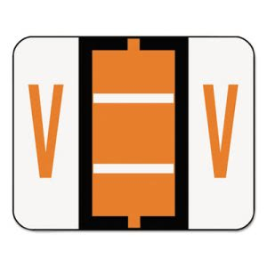 Smead A-Z Color-Coded Bar-Style End Tab Labels, Letter V, Dark Orange, 500/Roll (SMD67092)