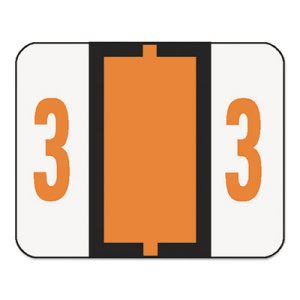Smead Single Digit End Tab Labels, Number 3, Orange/White, 500 Labels (SMD67373)