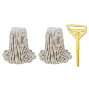 "Boardwalk Cut-End Mop Kits, #24, 60"" Handle, 2 Mop Heads and 1 Handle (BWK5324C)"