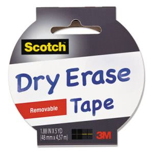 "Scotch Dry Erase Tape, 1.88"" x 5 yds, 3"" Core, White (MMM1905RDEWHT)"