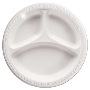 "Chinet 3-Compartment Plastic Plates, 9"", White, Round, 500 Plates (HUH81239)"