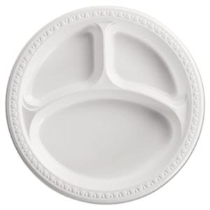Chinet Heavyweight 3 Compartment Plastic Plates, White, 500 Plates (HUH81230)