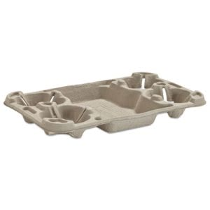 Chinet Molded Fiber Cup Tray, 8-44-oz, Four Cups, 150 Trays (HUH20968CT)
