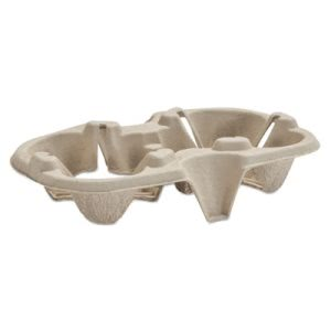 Chinet Molded Fiber Cup Tray, 8-44-oz, Two Cups, 300 Trays (HUH20963CT)