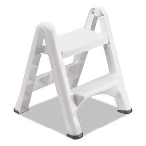 Rubbermaid 4209 EZ Step Two-Step Folding Stool, White, 3 Stools (RCP4209CT)