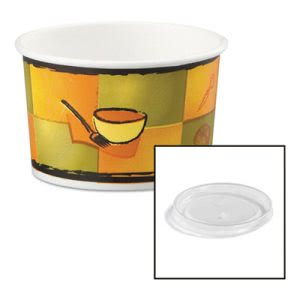 Chinet Paper Food Container with Plastic Lid, 8-10-oz, 250 Containers (HUH70408)