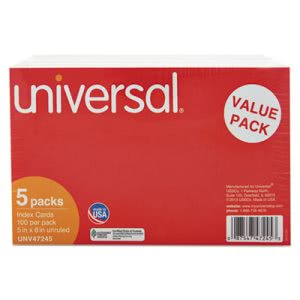 Universal Unruled Index Cards, 5 x 8, White, 500/Pack (UNV47245)