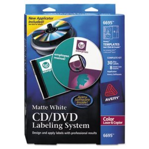 Avery CD/DVD Design Kit, Matte White, 30 Laser Labels and 8 Inserts (AVE6695)