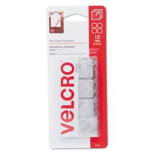 Velcro Sticky-Back Hook and Loop Fastener Squares, 7/8 Inch, Clear (VEK91330)