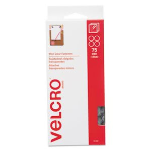 Velcro Sticky-Back Hook and Loop Fasteners, Clear, 75 Fasteners (VEK91302)