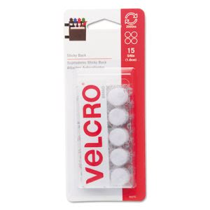 "Velcro Sticky-Back Hook and Loop Dot Fasteners, 5/8"" dia., 15 Sets (VEK90070)"