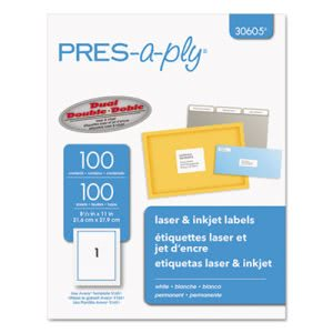 Avery Pres-A-Ply Laser Address Labels, 8-1/2 x 11, White, 100/Box (AVE30605)