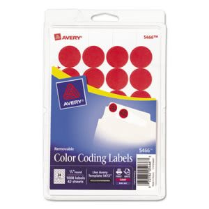 Avery Print or Write Removable Color-Coding Labels, Red, 1008/Pack (AVE05466)