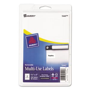 Avery Print or Write Removable Multi-Use Labels, White, 150 Labels (AVE05440)