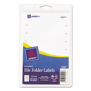 Avery Print or Write File Folder Labels, 11/16 x 3-7/16, 252 Labels (AVE05202)