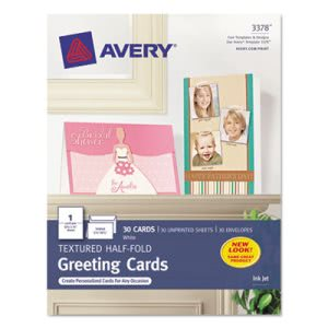 Avery Personal Printable Textured Cards/Envelopes, 30 per Box (AVE3378)