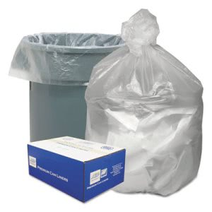 33 Gallon Clear Trash Bags, 33x39, 9 mic, 500 Bags (WBIGNT3340)