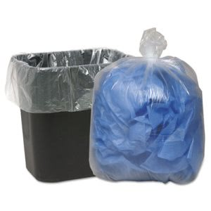 16 Gallon Clear Garbage Bags, 24x33, 0.6mil, 500 Bags (WBI243115C)