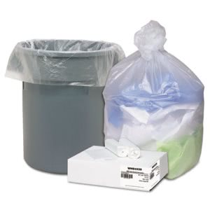 33 Gallon Clear Trash Bags, 33x40, 11mic, 100 Bags (WBIWHD3339)