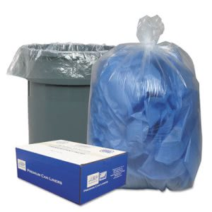 Classic Clear 45 Gallon Low-Density Can Liners, Clear, 250/Carton (WBI404616C)