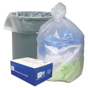 56 Gallon Clear Garbage Bags, 43x48, 0.63 mil, 200 Bags (WBIHD434816N)