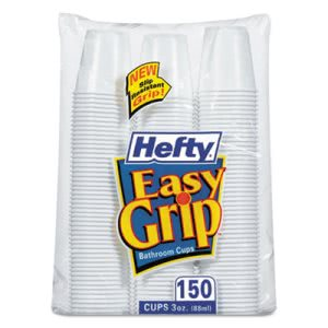Hefty Easy Grip 3oz White Plastic Bathroom Cups, 1800/ctn (RFPC20315CT)