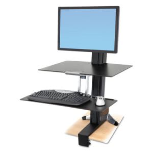 Ergotron WorkFit-S Sit-Stand Workstation w/Worksurface, Black (ERG33351200)