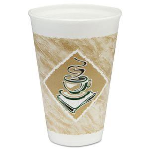 Dart Café G Foam Drink Cups, 16-oz., Coffee Design, 1,000 Cups (DCC16X16G)