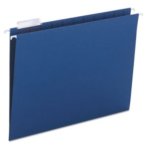Smead Hanging File Folders, 1/5 Tab, 11 Point, Letter, Navy, 25/Box (SMD64057)