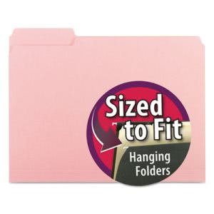 Smead Interior File Folders, 1/3 Cut Top Tab, Letter, Pink, 100/Box (SMD10263)