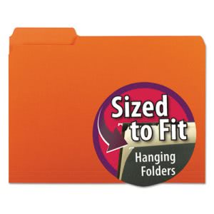 Smead Interior File Folders, 1/3 Cut Top Tab, Letter, Orange, 100/Box (SMD10259)