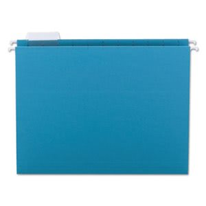 Smead Hanging File Folders, 1/5 Tab, 11 Point, Letter, Teal, 25/Box (SMD64074)