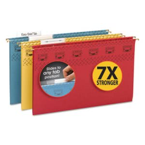 Smead Tuff Hanging Folder with Easy Slide Tab, Legal, Assorted,15/Box (SMD64140)