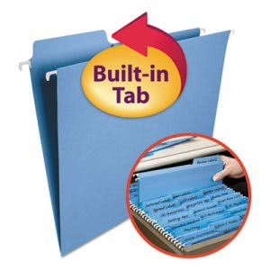 Smead FasTab Hanging File Folders, Letter, Blue, 20/Box (SMD64099)