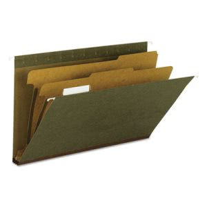 Hanging File Folder, 2 Dividers, Legal, 1/5 Tab, Green, 10 per Box (SMD65160)